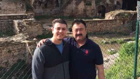 Arslan Hidayat (left) seen with his father-in-law, Uyghur comedian Adil Mijit, who the family say they have not heard from since November 2018.