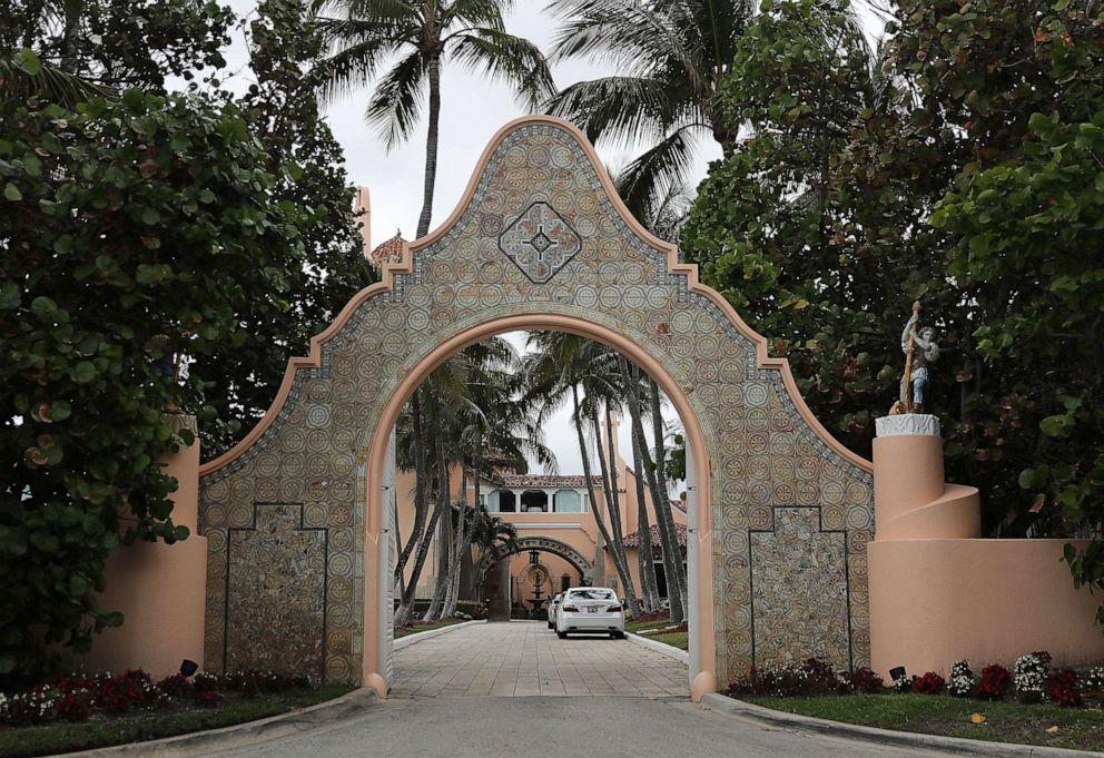 An entranceway to President Donald Trump's Mar-a-Lago resort is seen on April 03, 2019, in West Palm Beach, Fla.