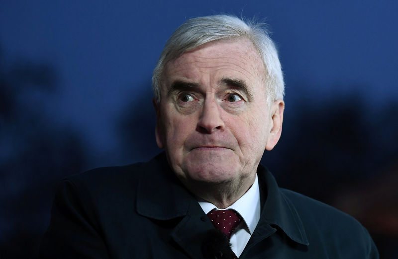 © Reuters. Britain's Shadow Chancellor of the Exchequer John McDonnell speaks to the media, after the British parliament rejected Prime Minister Theresa May's Brexit deal, in London