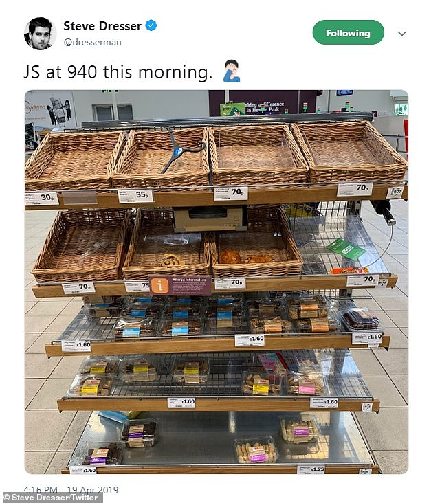 Grocery expert Steve Dresser regularly shares images of Sainsbury's stores on twitter, flagging the recent product availability issues