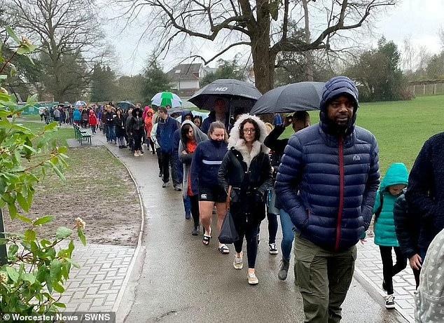 A total of4,855 people queued for hours in the rain in Oscar's home town of Worcester to see if they were eligible to become a donor