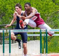 Fitchburg's Evans Oduro competes in the 100-meter hurdles during Saturday's Central/Western Mass. Division 1 championships at Fitchburg State