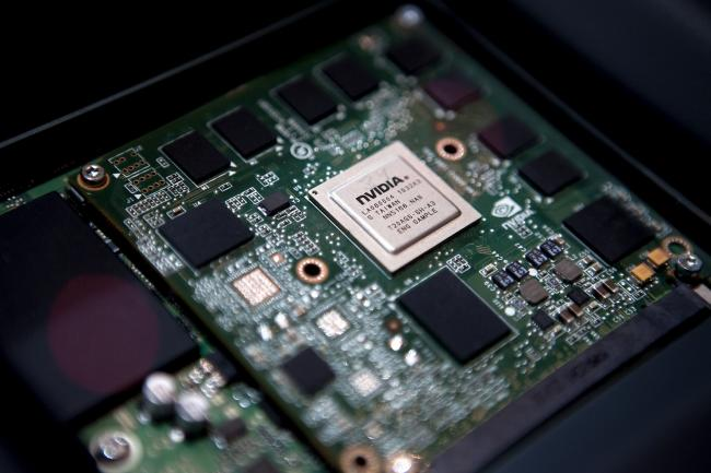 © Bloomberg. An Nvidia Corp. dual-core Tegra 2 chipset that will power the in-car multimedia systems of upcoming Audi AG vehicles sits on display at the 2011 International Consumer Electronics Show (CES) in Las Vegas, Nevada, U.S., on Thursday, Jan. 6, 2011. Photographer: Andrew Harrer