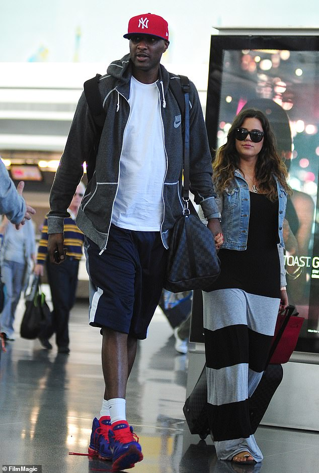 Odom was married to Khloe Kardashian from 2009 to 2016 (pictured together in 2012). He started battling with drugs and mental health in 2011. After being divorced by Khloe in 2015, he was found comatose at Dennis Hof's Love Ranch brothel in Crystal, Nevada. He had suffered a cocaine overdose, multiple strokes, kidney failure, and numerous heart attacks