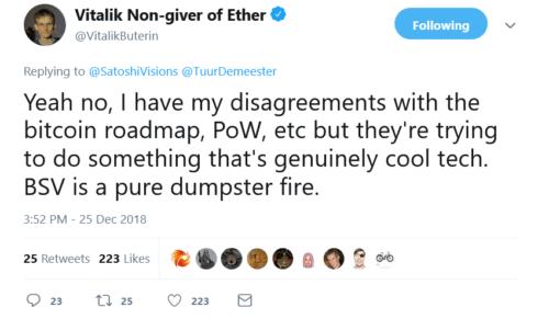ethereum creator Vitalik Buterin Calls BSV a Dumpster Fire
