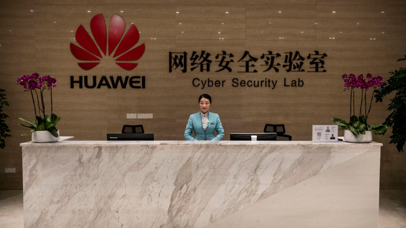 Huawei's reception desk at the company's Cyber Security Lab on April 25, 2019 in Dongguan, near Shenzhen, China