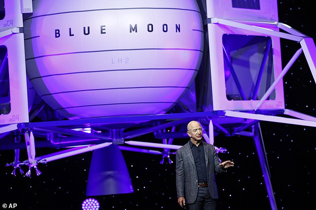 Jeff Bezos says a recently discovered trove of water and ice in the moon's surface could fuel a lunar lander owned by his company Blue Origin.