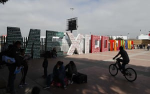 "The words ""Tijuana, Mexico"" stand on the Mexican side of the border with the U.S. where migrants wait to be attended to apply for asylum in the U.S., in Tijuana, Mexico, yesterday"
