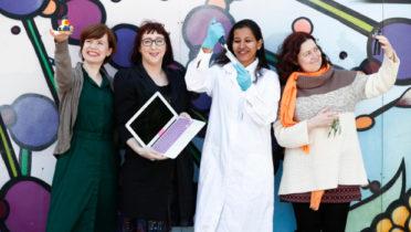 Pictured: Dr Nicole Beisiegel, UCD School of Mathematics and Statistics; Fiona Dermody, School of Computer Science, DCU; Pallavi Kumari, UCD School of Physics; and Dr Ana Herrero-Langreo, UCD School of Biosystems and Food Engineering