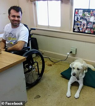 Lafleur began using a wheelchair when he entered college. Pictured: Lafleur with his dog, Zeego