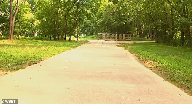 Her friend, Karen Hudgins, believes Wooten was bitten by an insect known as the 'kissing bug' because it tends to bite people's faces, near their mouths. Pictured: The trail on which Wooten collapsed