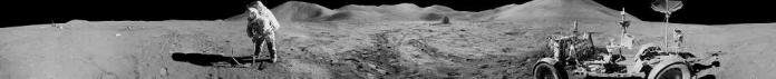 A panoramic view of Apollo 15 lunar module pilot James B Irwin, using a scoop to make a trench in the lunar soil during the second moonwalk of the mission. Photo: NASA