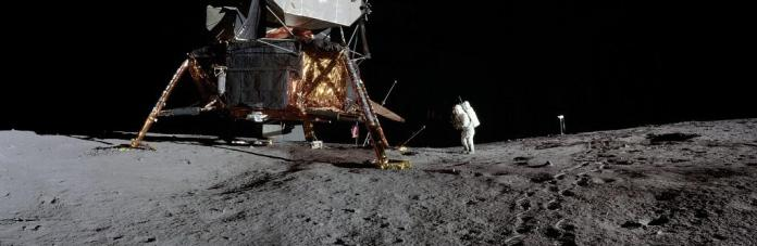 These photos of Apollo 12 lunar surface with lunar module pilot Alan L Bean and the TV were taken from just inside the rim of Surveyor Crater on the first moonwalk of the mission. Photo: NASA