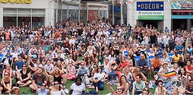 Fans watching the men's Wimbledon final at the Wimbledon Piazza shopping centre site