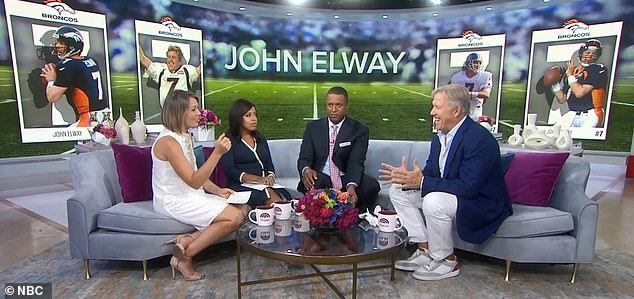 He won back-to-back Super Bowls and is regarded as one of the greatest quarterbacks of all time. Pictured: Elway (far right) on the TODAY show