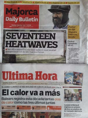 Mallorca newspapers report the heatwaves