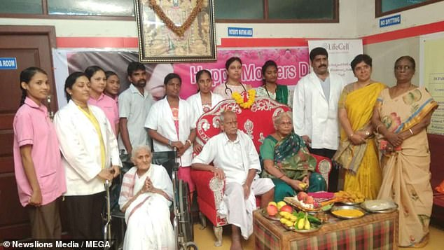 If Mangayamma is as old as she says she is, it will make her eight years older than the current record holder (pictured with her family after giving birth)