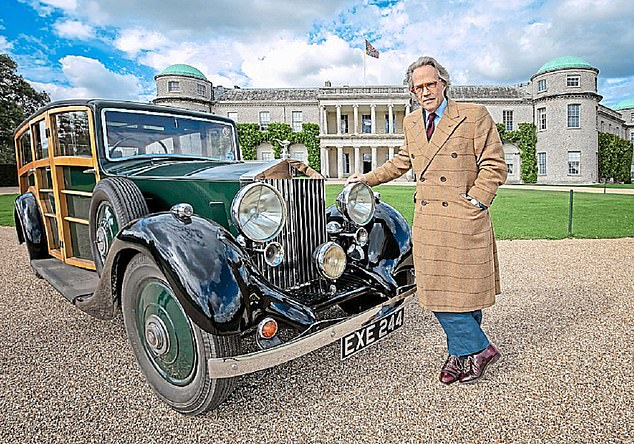 Roller mania: The Goodwood estate also plays host to Rolls-Royce motor cars. Here the Duke poses with Woody, his cherished Rolls-Royce dating back to the 1930