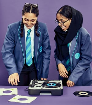 Najaat and Iqra with a turntable