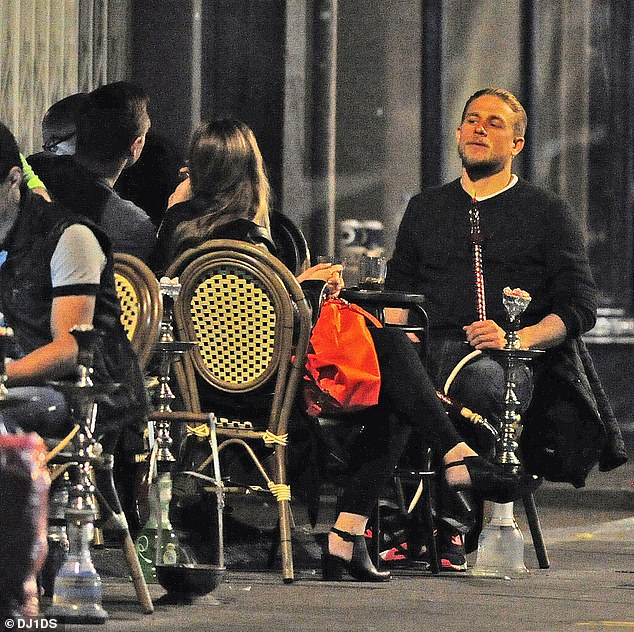Charlie Hunnam, who spends time in LA, pictured at a shisha bar in London