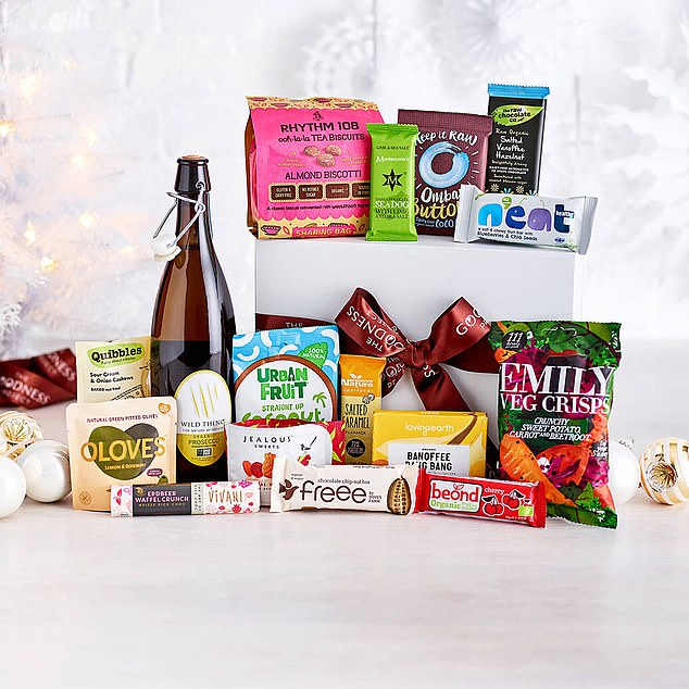 A wild vegan and prosecco snack hamper is available on thegoodnessproject.co.uk for £58.50