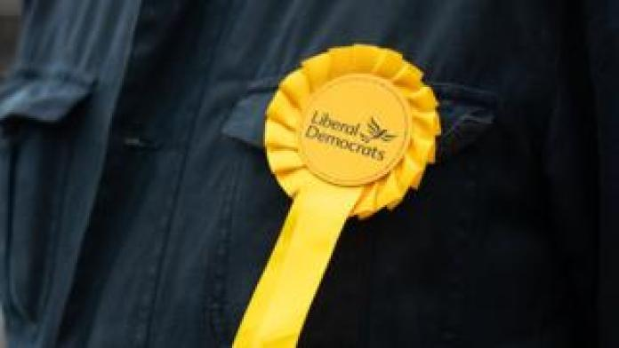 Close up of a Liberal Democrat rosette