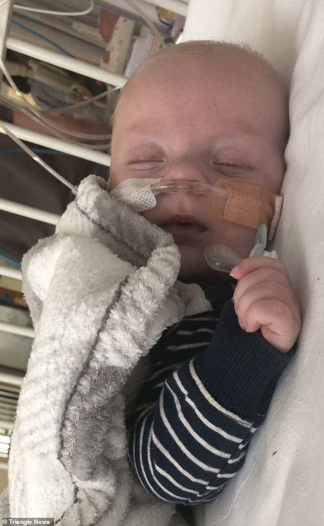 Miss Griffiths rushed Bradley to hospital at four months old because he was turning blue when he cried. He is pictured as baby with breathing tubes because his lungs were not receiving enough oxygen