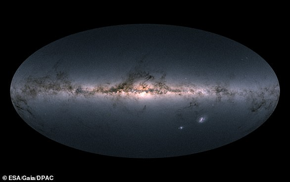 Gaia's all-sky view of our Milky Way Galaxy and neighbouring galaxies, based on measurements of nearly 1.7 billion stars. The map shows the total brightness and colour of stars observed by the ESA satellite in each portion of the sky between July 2014 and May 2016. Brighter regions indicate denser concentrations of especially bright stars, while darker regions correspond to patches of the sky where fewer bright stars are observed. The colour representation is obtained by combining the total amount of light with the amount of blue and red light recorded by Gaia in each patch of the sky.