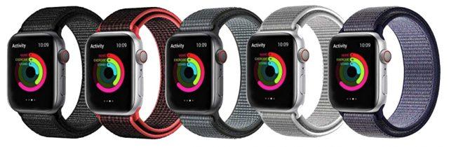 Five-pack of knock-off Sport Loop Apple Watch bands