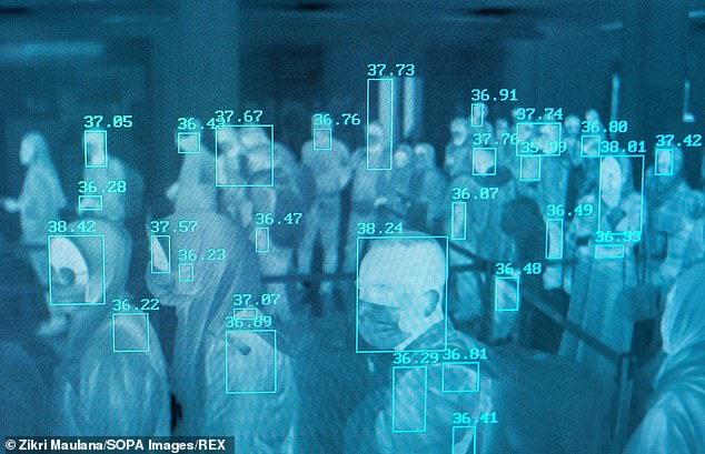 Thermal scanning at Sultan Iskandar Muda International Airport in Indonesia shows people's temperatures beside their heads – those who have high temperatures will be checked to see if they have a fever