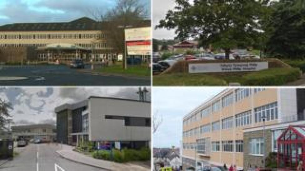 (clockwise from left): Withybush, Prince Philip, Bronglais, and Glangwili hospitals