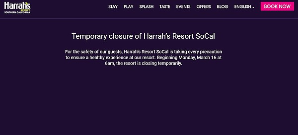 An image of Harrah's Rincon website announcing it's local...