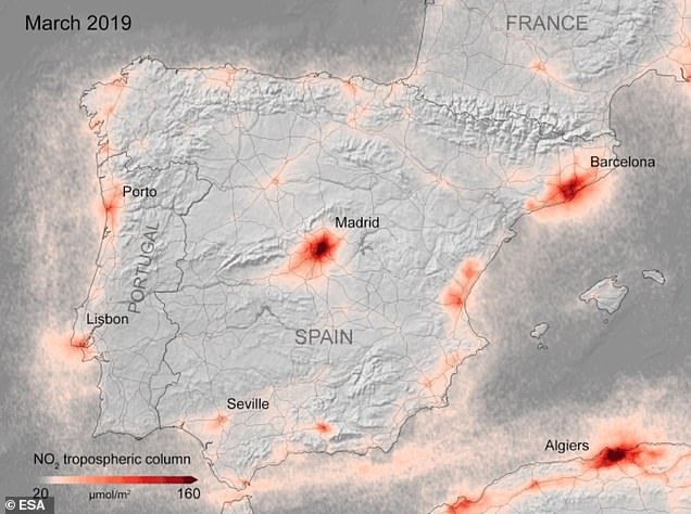 This image shows NO2 levels over Spain in March 2019