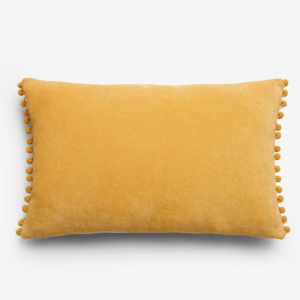 Yellow velour pom-pom cushion