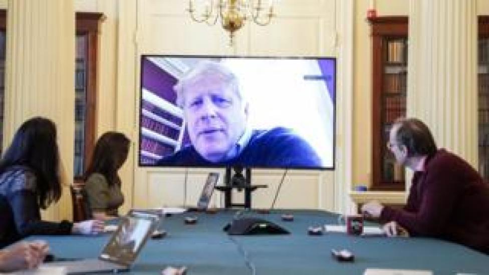 Boris Johnson chairing Saturday's morning Covid-19 meeting via video link