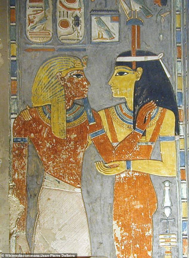Amentet (right) greeting Pharaoh Horemheb in his tomb. According to some sources, Amentet was often depicted on tombs to welcome the deceased into the afterlife