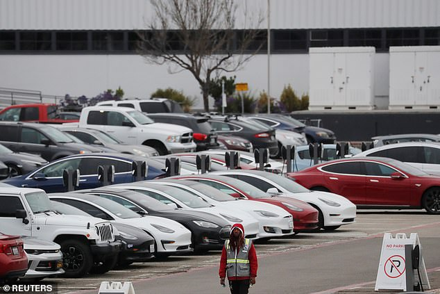 Tesla plans to resume production of electric cars at its Fremont factory (above) on May 4, said the email from the company's head of North American HR Valerie Workman