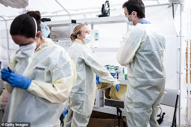 Most of the more than 87,000 people in New York City who are infected with coronavirus have a strain that came to the US from Europe. Pictured: Medical workers in NYC suit up in PPE at a field hospital set up by Mt Sinai Health System
