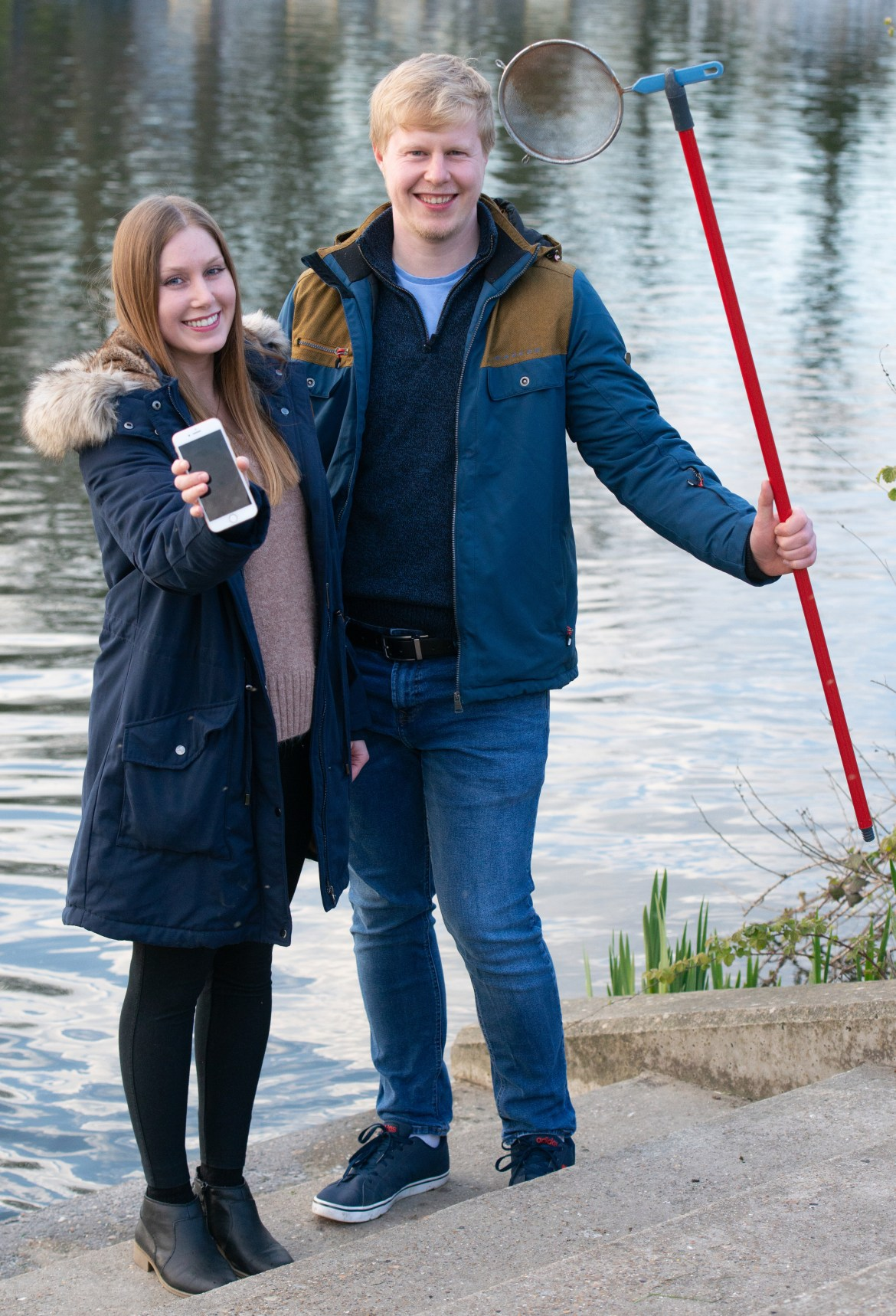 Thayse Bussolo-Vieira, with fiancé James Tongue, found her brand new iPhone 8 that she dropped in the Thames two months earlier and was amazed it still worked