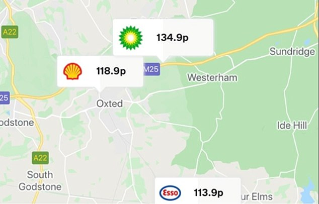 A Shell retailer away from the M25 in Oxted is currently charging 10p-a-litre higher prices for unleaded than the UK average - and 19.2p a litre more than some supermarkets. This might be because - as the map shows - there are no supermarket forecourts in close proximity