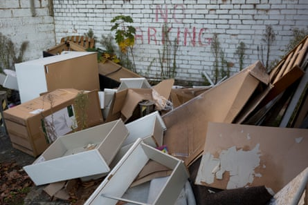 Flytipped boxes, furniture and domestic possessions dumped on a single parking space in London last year.