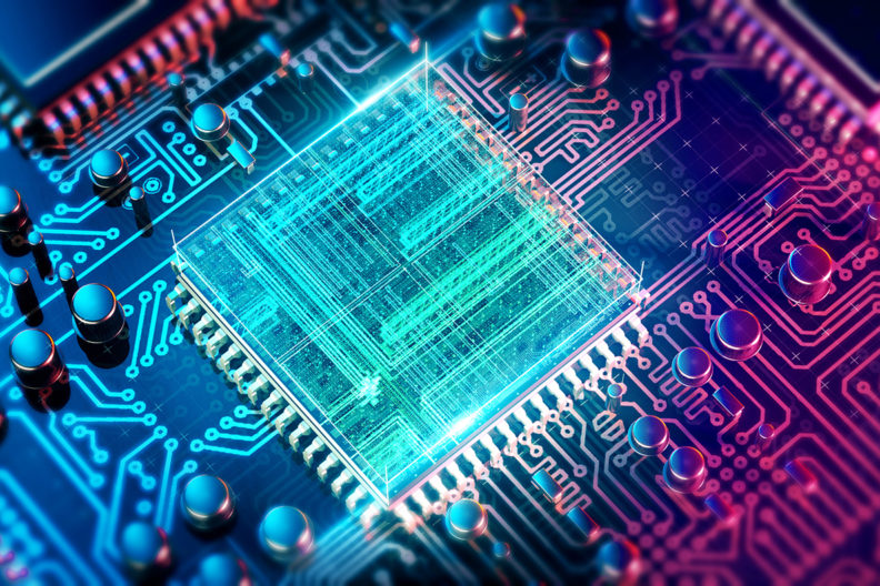 Computer chip on a circuit board.