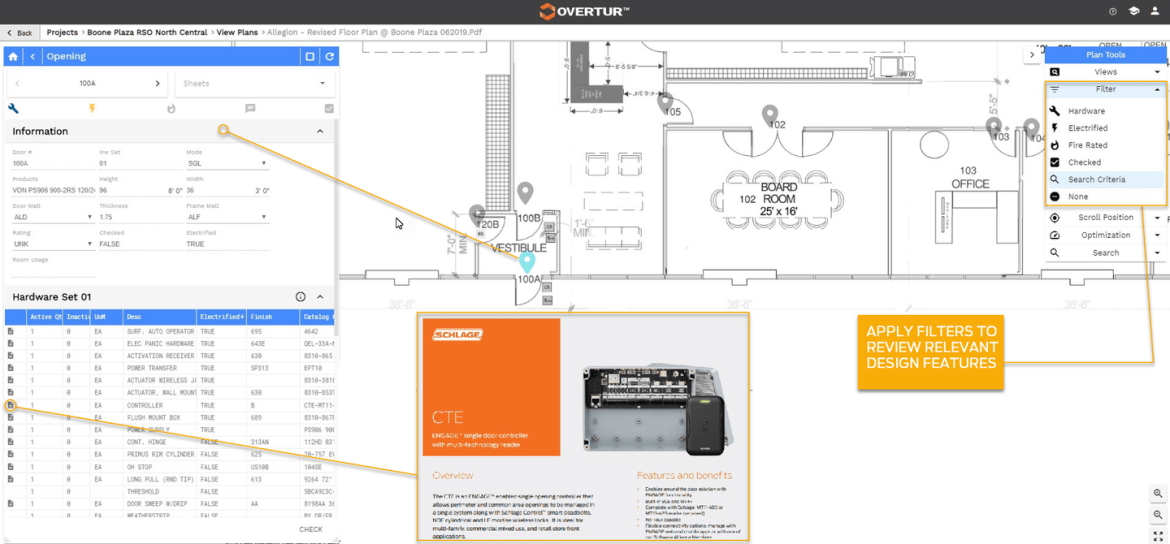 Allegion's Overtur software is a web-based platform developed by Allegion to manage the door hardware lifecycle, from design to commissioning and retrofit.