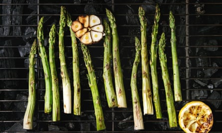 Ahead of the curve ... barbecue late-crop wonky asparagus.