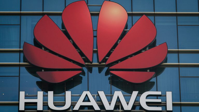 huawei logo and building
