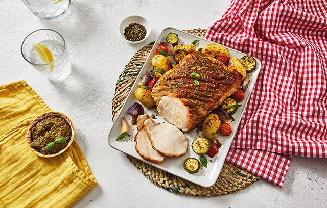 This tasty pork loin in a garlic and fennel marinade served with pesto roasted Med veg