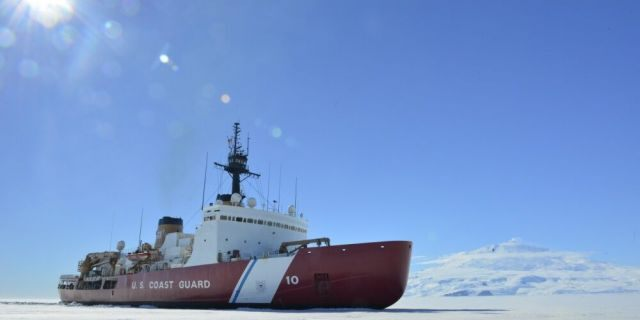 The Coast Guard Cutter Polar Star breaks ice in McMurdo Sound near Antarctica on Saturday, Jan. 13, 2018. The Polar Star is America's only heavy icebreaker, and is more than 40 years old. U.S. Coast Guard photo by Chief Petty Officer Nick Ameen