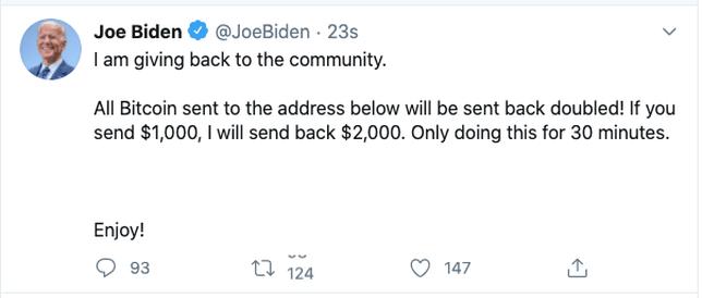 Bitcoin scam tweet on Joe Biden's hacked Twitter account