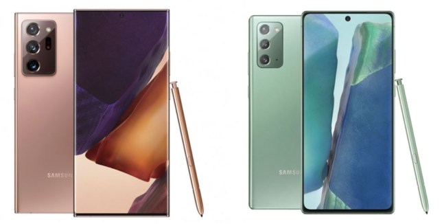 The Samsung Galaxy Note 20 (L) and Note 20 Ultra (R) (Samsung)