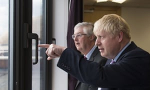 Boris Johnson and Mark Drakeford (left) in Cardiff in July last year.